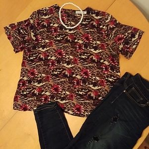 Fpflower and animal print blouse